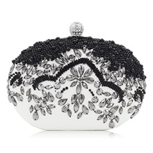European Black Luxury Pearl Embroidery Evening Bags High-end Manual Customization Clutch Dress Silver Mini Bag(China)