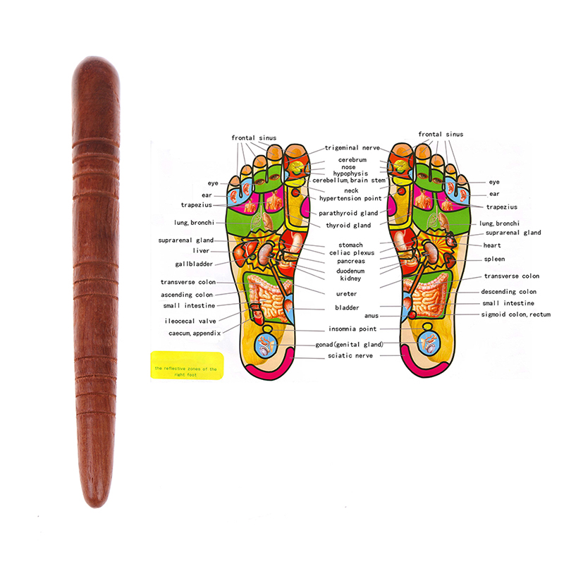 Wooden Foot Spa Physiotherapy Reflexology Thai Foot Point Stick Massage Health Chart Free Massage Stick Tool Hot Sale