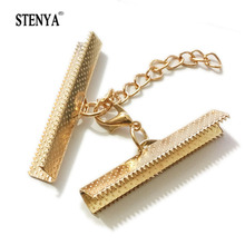 Stenya Crimp Ends Beads Cover Lobster Clasps Jump Rings Cords End Caps String Ribbon Leather Clip Foldover Necklace Connectors(China)