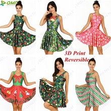 Merry Christmas Tree Ladies Tennis Dress Sexy New Year Skater Dress Santa Claus Reversible Sundress Sleeveless Pleated Dress