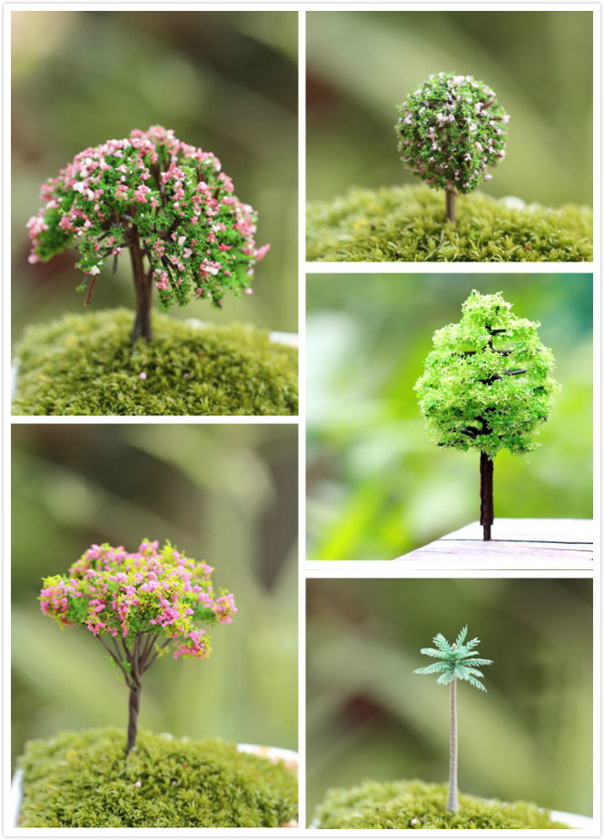 6 style Mini Tree Fairy Garden Decorations Miniatures Micro Landscape Resin Crafts Bonsai Figurine Garden Terrarium Accessories