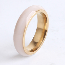 free shipping 6mm ceramic gold color smooth 316l Stainless Steel finger rings for women men wholesale(China)
