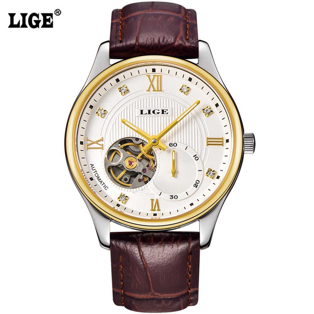 2016 Relogio Masculino LIGE brand Mens Watches Luxury business Automatic Watch Man Classic Hollow Clock Leather Wrist watches<br>