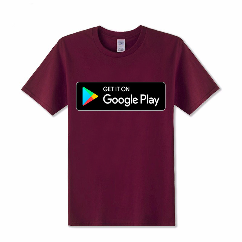 Git it on Google Play letters printed T Shirts men Cotton Short sleeve google shirt hombre Leisure google T-shirt google tshirts