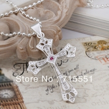 LJ&OMR New Arrival Wholesale Fashion silver Jewelry 925 Sterling Silver Cross Pendant Necklace for women men Necklace(China)
