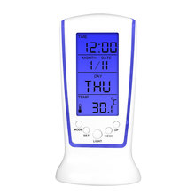 Zacco LED Digital Luminous Music Alarm Clock Timer Nighr Light Blue Ray Temperature Calendar Clock Multi-function Display(China)