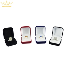 Wholesale Engagement Velvet Ring Box Jewelry Display Storage Case For Wedding Ring Valentine's Day Gift Organizer(China)