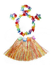 5pcs/set luau hula skirts Plastic Fibers Kids Grass Skirts Hula Skirt Hawaiian costumes Baby Girl Dress Up