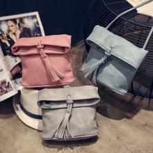 Retro Bucket Women Tassel Bag Foldable PU Bag ladies leather women's handbags small Female Shoulder Bag Sac A Main Bolsos mini