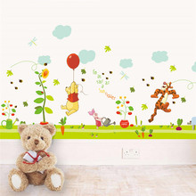 Cartoon winnie the pooh bear wall sticker for kids rooms children's Diy art mural wall decals paper baby room poster mural