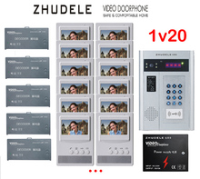 "ZHUDELE Building Home security intercom system 20 Units Apartment Video Door Phone Bell Intercom System 4.3""TFT monitor IN STOCK"