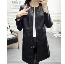 lager size women clothing Free shopping Autumn and winter new Korean round neck long PU leather windbreaker jacket / M-3XL