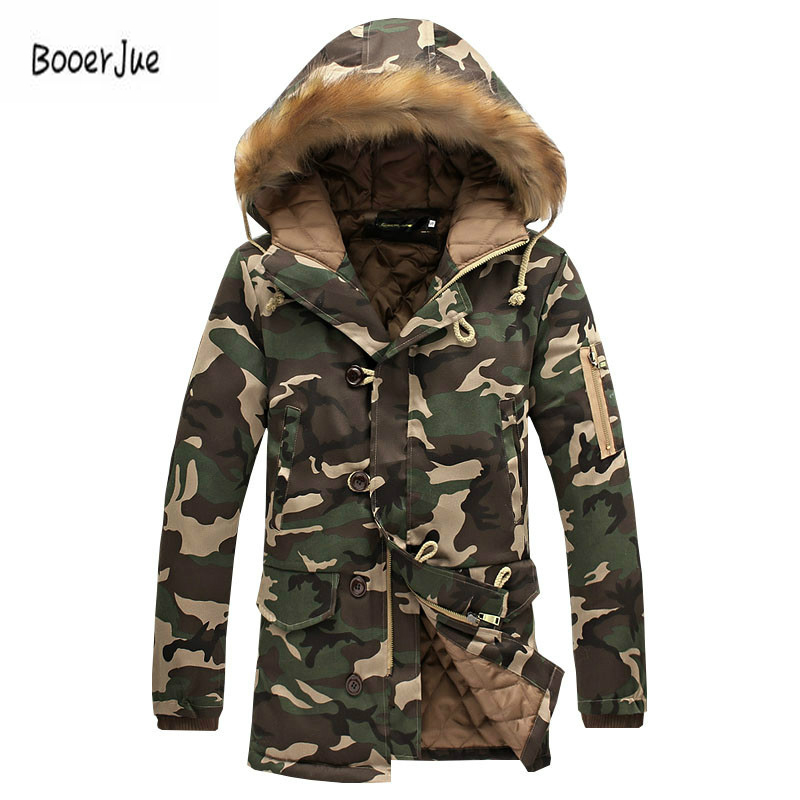 Fashion Winter Jacket Men Camouflage Parkas Men Military Coats Male Thicken Cotton-padded Coats With Fur Hood Plus Size 5XL 2018