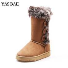 2017 Shop Cheap Australia Hot Sale Cute Winter women's Felt Hair Mid-Calf Snow Boots with Faux Fur Outside for Women femininas(China)