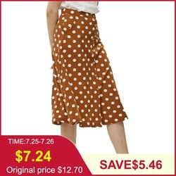 Tangada летняя юбка юбка на пуговицах юбка до колена юбка длина миди юбка в горошек бежевая юбка коричневая юбка юбка в белый горошек юбка на за...