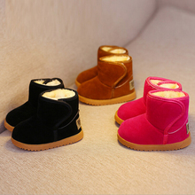 New Boy Girl Snow Boots Ankle Plush Children Winter Boot Baby Hook&Loop Top Casual Warm Shoes For Toddler/Little Kid Size 21-25