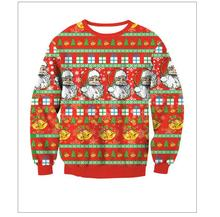 2017Warm Red Sweaters Fashion Santa Claus X-mas Tree Reindeer Patterned Sweater Ugly Christmas Sweaters For Men Women Pullovers(China)