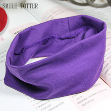 High quality cotton yoga lady headband women fashion candy color sport absorb sweat hair band popular elastic headband for women