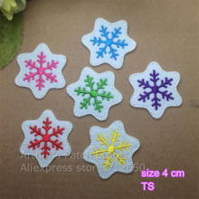New arrival 10 pcs 6 colors of snow flake flowers Embroidered patches iron on cartoon Motif Applique embroidery accessory(China)