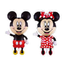 112cm Giant Mickey Minnie Balloon, Cartoon Foil Birthday Party Balloon Airwalker Balloons for Kids Baby Toys Party Decorate(China)