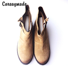 Careaymade-US style Vintage Martin boots half ankle short natrual genuine leather boots/women motorcycle snow boots,3 colors