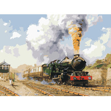 the train picture poster Diy painting by numbers hand painted canvas oil paintings living room wall canvas art decoration(China)
