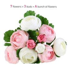 10 Heads Artificial Flower pink and white Silk Camellia Flower For Wedding party home Decoration Bridal hand Bouquet of flower(China)