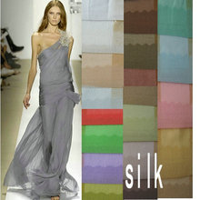 silk fabric 43 color 10m/m,140CM nature silk georgette fabric for fashion dress(China)