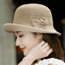 Arco sombreros de Sol para las niñas de color sólido sombrero de paja de  las mujeres de ala ancha sombrero de verano Panamá esti. a0e92a96962