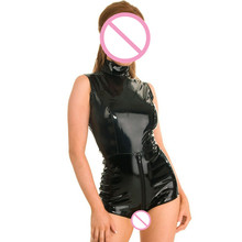 Buy Abbille XXL Black Latex WetLook Bodycon Catsuit Sex Faux Leather Bodysuit zip high collar Erotic PVC Jumpsuit Clubwear Costumes