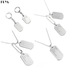 Military Army Tactical Engraving Name ID Tags Cards Pendant Man Necklace&Pendants Stainless Steel Fashion Keychain Men Jewelry(China)