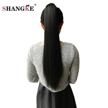 SHANGKE 24'' Long Black Synthetic Ponytail Long Hair Natural Fake Hair Tail Hairpieces Women Hairstyles Heat Resistant Fake Hair