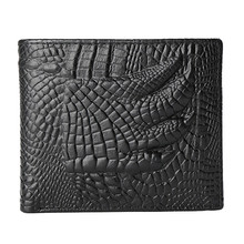 Hot Fashion Business Men Cow Leather Crocodile Pattern Bifold Wallet Men's Wallets Casual Credit Card Holder Purse Fast Shipping(China)