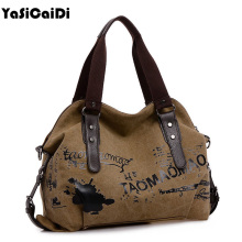 Vintage Graffiti Women's Bag Canvas Handbag Female Famous Designer Shoulder Bag Ladies Tote Fashion Large Sac a Main bolsos Muje(China)