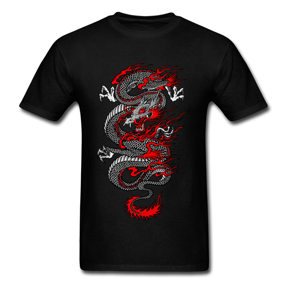 Asian Dragon 100% Cotton Tops T Shirt for Men Printed T-shirts Summer New Coming O-Neck T Shirt Short Sleeve Free Shipping Asian Dragon black