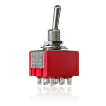 1Pc ON-ON 9 Pin 2 Position Mini SPDT Toggle Switch AC 250V/2A,125V/5A Red(China)