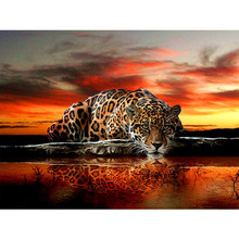30*40 5d diy diamond leopard pattern Cross Stitch diamond painting round animal embroidery beads patterns picture of rhinestones(China)