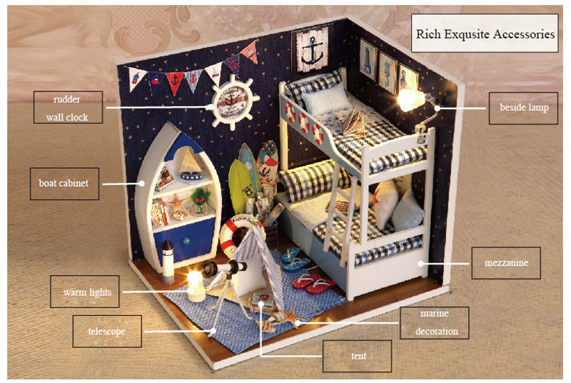 Doll Houses C Doll House Furniture Diy Miniature Bedroom Dust Cover 3d Wooden Miniaturas Boy Room Dollhouse For Gifts Toys M008 Dolls & Stuffed Toys