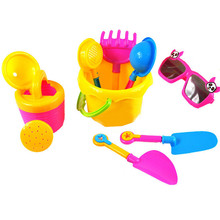 9 Pcs Beach Sand Play Toy Seaside Tools With Bucket Spade Shovel Shower Sunglasses Outdoor Hourglass for Children Kid
