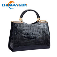 Chuwanglin Fashion women's fashion handbag crocodile pattern japanned leather patent messenger bags OL  shoulder bag ZDD0128