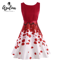 Buy AZULINA Elegant Ladies Vintage Women Party Midi Dress Sleeveless O Neck Female Red Retro Dresses Vestido De Festa Robe Femme for $13.90 in AliExpress store