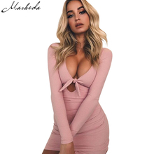 Macheda 2017 Women Elegant Print Dress Party Sexy Night Club Pink Short Dress O-Neck Long Sleeve Sheath Bodycon Lace A-Line Dres(China)