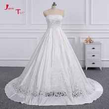 Jark Tozr 100% Real Photo Beading Pearls Sequins Customize Appliques France Satin A-line Wedding Dresses 2018 Vestido De Novia(China)