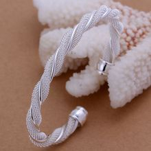 Wholesale 925 jewelry silver plated bangle bracelet, 925 jewelry silver plated fashion jewelry, Twisted Web Silvery Bangle B020(China)