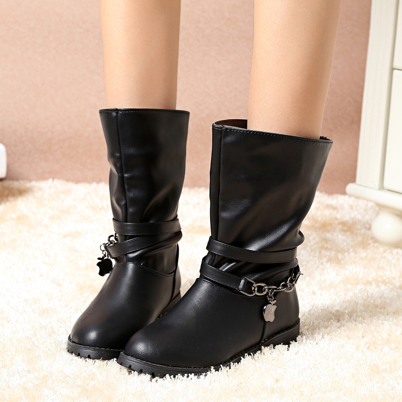 Women Pu Leather Ankle Boots Slip-on Round Toe Rubber Boots Black Mid-calf High Quality Boots for Women X798 5<br><br>Aliexpress
