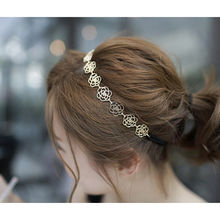 NEW Fashion Metal Chain Jewelry Hollow Rose Flower Elastic Hair Band Headband hairband hair accessries(China)