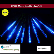 8 tubes/set 50cm DIP Christmas outdoor Falling Star Meteor festival decorative light For Tree fairy lights arvore de natal