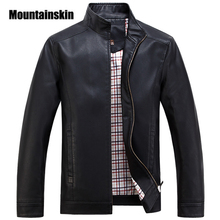 Mountainskin 2017 Faux Leather Jackets Men's Clothes Spring Autumn Coats Men Outwears Brand Clothing Business Men's Jacket WA093(China)