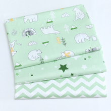 100% DIY crib bedding cushions quilting patchwork tela cotton twill fabric cartoon fresh green polar bear stars chevron fabric(China)