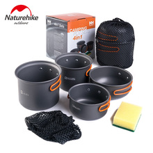 Camping Cookware Mess Kit Backpacking Gear & Hiking Outdoors Bug Out Bag Cooking Equipment 4 Piece Cookset